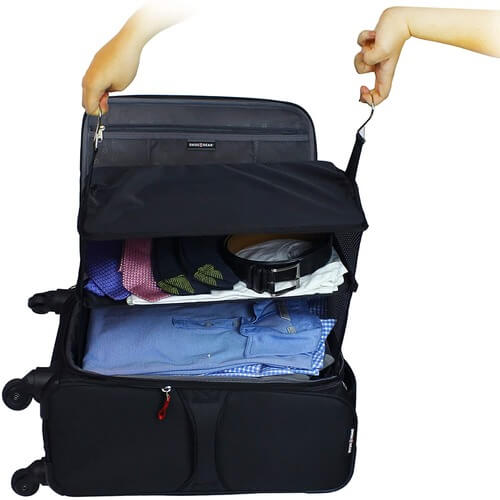 Clothes in Stow-N-Go Luggage Organizer