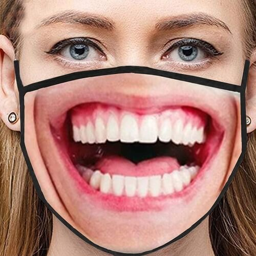 Woman making funny faces with laugh mask gift