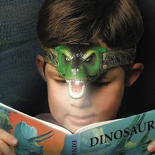 Cool Boy wearing T-Rex Dinosaur Headlamp
