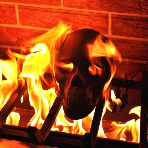 Fire Pit Skull Gas Log burning in Fire