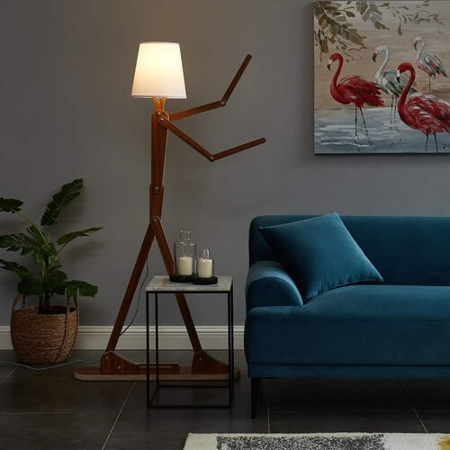 wooden standing floor lamp